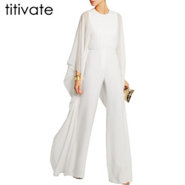 Barato Calça De Ruffle Larga-Atacado- TITIVATE Ruffle White Casual Rompers Moda Big Women Full Sleeve Maxi Overalls Wide Leg Jumpsuit S-2XL Plus Size Long Pants