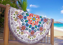 Sarong Cotton Canada - Round Beach Towel Sarong bath towels Party wedding Christmas decorations cotton printed round table cloth vintage yoga picnic mat wall decor