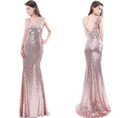 Robes Longues En Longueur Pas Cher-2017 Cheap Rose Gold Sequins Robes de demoiselle d'honneur V Neck sirène Longueur sans couture Longue Robes de soirée Maid Of Honour Party Dress CPS409