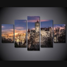 $enCountryForm.capitalKeyWord Australia - 5 Pcs Set Framed Printed Bran Castle in Romania Painting Canvas Print room decor print poster picture canvas Free shipping ny-4518
