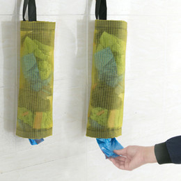 Porte-sac en plastique et distributeur de polyester Sacs à ordures Hanging de grille transparente sac de rangement de cuisine salle de bains achats d'épicerie Outil WX9-82 en Solde