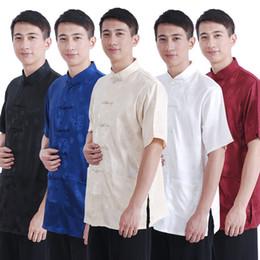 Satin Shirts Canada - Wholesale-Navy Blue New Summer Chinese Men's Silk Satin Kungfu Shirt Coat top M L XL XXL XXXL