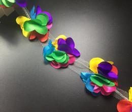 Bridal Fabric Flower Hair Clips NZ - 10Yard Multicolor Flower chiffion Lace Fabric Trim Ribbon For DIY Bridal wedding Doll Cap Hair clip