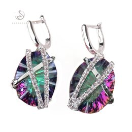 rainbow products wholesale NZ - Copper Rhodium Plated Romantic Earrings Promotion Rainbow Fire Mystic Cubic Zirconia MN3314 Shinning Favourite Best Sellers The new product
