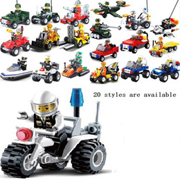 Wholesale 20Pcs Enlighten educational toysTanks Robot motorcycle plane Truck DIY toys building blocks children toys playmobile gifts