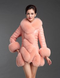$enCountryForm.capitalKeyWord Canada - Women's luxury winter genuine sheepskin leather duck down padded fox fur collar fur cuff medium long slim waist parka coat casacos 3XL