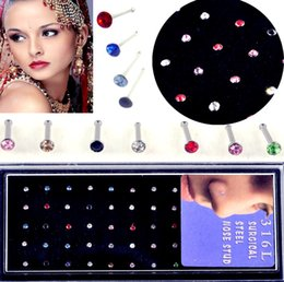 Nose Bar Piercing Canada - 60 pcs pack Crystal Rhinestone Bulk Bone Straight Studs Bar Piercing Nose Ring mix Colors for your choice body jewelry