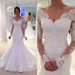 Barato Vestido De Noiva De Damasco De Sereia De Tule-2017 Mermaid Lace Off-the-Shoulder Long Sleeve Vestidos de casamento Low V Back Tribunal Trem Beaded Tulle Satin Open Back White Bridal Gowns