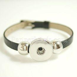 $enCountryForm.capitalKeyWord Australia - Hot Wholesale Snap Bracelet &Bangles High Quality Black Leather Bracelets Fit 18mm Diy Partnerbeads Snaps Button Jewelry Kb0994