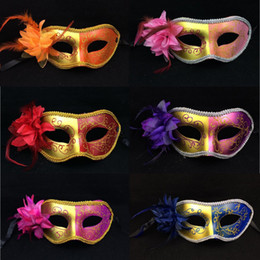 half face gold party masks NZ - Hot Women Painted Masquerade Face Masks Halloween Party Side Flower Carnival Half Face Masks Valentine's Day Bar Party Carnival Mask