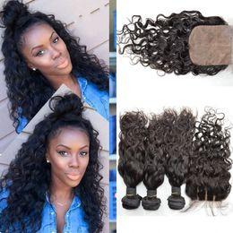 Discount hair bundles closures sale - Brazilian Virgin Hair Water Wave 3 Bundles with Closure Unprocessed Brazilian Hair Weave,4pcs lot Brazilian Natural Wave