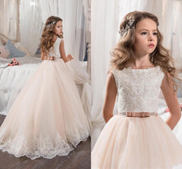 cheap christmas tutus Australia - 2018 Tutu New Blush Pink Flower Girls Dresses Cheap Jewel Neck Lace Appliques Long Sweep Train Birthday Communion Children Girl Gowns