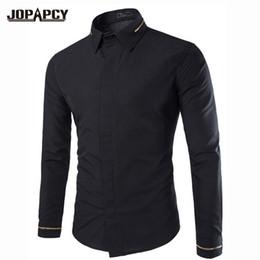 $enCountryForm.capitalKeyWord Canada - Wholesale- Fashion Spring Solid Black Shirts Long Sleeve Designer Busines Cotton Mens Dress Shirts Slim Fit Men Clothes Social MXB0222