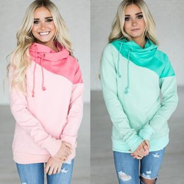 540284160df High quality new winter fashion large size women jacket super soft color  mosaic long sleeved HOODIE (Pink blue) S-2XL
