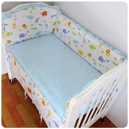 Bedding Sheeting Canada - Promotion! 6PCS Baby cot bedding kit bed around 100% cotton crib bumper set cot nursery (bumpers+sheet+pillow cover)