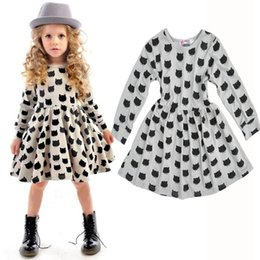 Childrens Vestidos De Algodón Baratos-2018 Cotton Childrens Dresses for Clothing Dibujos animados Cat Print Princess Dress Moda niña Niños vestidos de manga larga Boutique Enfant Clothes