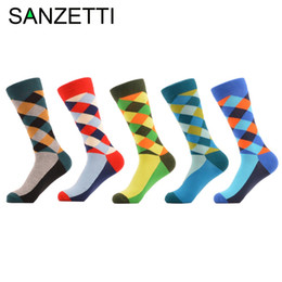 $enCountryForm.capitalKeyWord NZ - Wholesale- SANZETTI 5 pair lot Man Diamond Colorful Funny Sock Spring Autumn Socks grid Socks MEN Mixed color In the summer