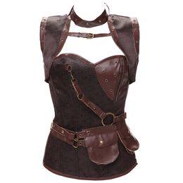 5e75d01bbd7 Plus Size 6XL Waist Trainer Vest Corset New Brown Gray Gothic Vintage  Steampunk Corselet Bustiers Underbust Korsett for Women W58926