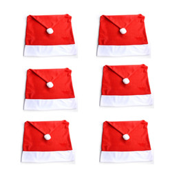christmas hat chair covers Australia - 6Pcs  Lot Christmas Chair Covers Santa Clause Red Hat for Dinner Decor Home Decorations Ornaments Supplies New