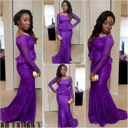Robes Sexy Violet Manches Longues Pas Cher-2018 New African Nigerian Purple Mermaid Robes de soirée Scoop Neck Long Sleeves Ruffles Full Dentelle Sweep Train Prom Dress Party Gowns