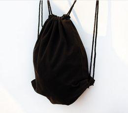 $enCountryForm.capitalKeyWord Canada - Girls Eco black Canvas drawstring backpack Women blank plain organizer Rucksack Travel sports Bags Men handbag kids DIY Gift crafts bags