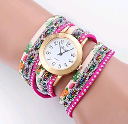 $enCountryForm.capitalKeyWord Canada - 10pcs lot Ladies Bracelet Watch Casual Leather Strap Band Colorful Rhinestone Diamond Winding Rivet Women Quartz Watch free shipping