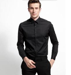 $enCountryForm.capitalKeyWord Canada - New style men shirt good quality groom shirt classic black custom made formal shirt business shirt long sleeve shirt
