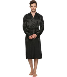 Chinese  Wholesale-Men Satin Pajama Robe Longwear Bathrobe Lightweight Dressing NightGown with 4 colours manufacturers