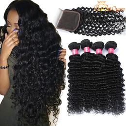 Бразильская глубокая волна с пачками волос закрытия с закрытием 4x4 3 пачки бразильские Виргинские волосы с закрытием Unprocessed человеческие волосы соткут
