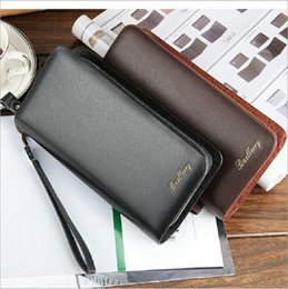 mens wallet cell phone holder Canada - Baellerry Brand Mens Wallet Leather Genuine Double Zipper Designs Man Wallet With Card Holder Long Purse Hot Sale Baelerry