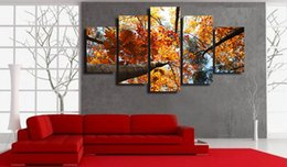 canvas prints free shipping NZ - 5 Pcs Set Framed Printed Golden Leaves Tree Painting Canvas Print room decor print poster picture canvas Free shipping ny-4994