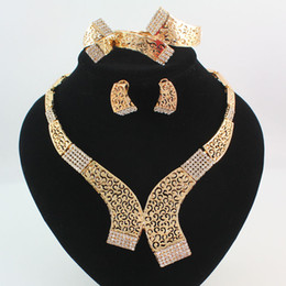 China Jewelry Sets Gold Silver Plated Statement Necklace Bracelet Earring Ring Fashion Crystal Hollow Tribal Bridal Bridesmaid Wedding Jewellery supplier silver indian jewellery suppliers