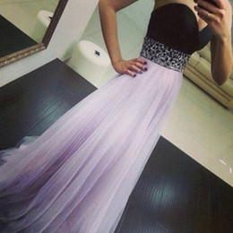 Sweetheart Beaded Evening Tulle Champagne Australia - Classic A Line Prom Dress Lilac Tulle Black Top Crystal Beaded Strapless Sweetheart Formal Special Occassion Evening Party Dresses Long Gown