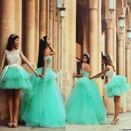 Robes Sexy À La Menthe Verte Pas Cher-Mint Green Layered Ruffles Robe de bal Quinceanera Robes 2016 Versions courtes et longues Appliqued Backless Formal Arabic Said Party Robes
