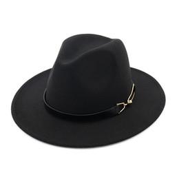 68f245153931e Sombreros de fieltro de fieltro de lana de fieltro de lana con hebilla de  cinturón unisex