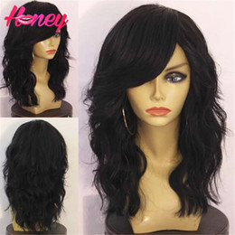 Side Long Human Hair Bangs NZ - loose wave wig 7A glueless full lace human hair wigs&lace front wig brazilian virgin hair with baby hair for black women with side bang