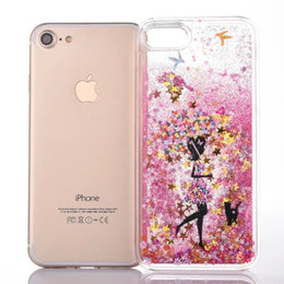 4s cases girl online shopping - Quicksand Liquid Girl Star Hard PC Case For Iphone PLUS G S Plus S G S Dynamic Flow Clear Bling Glitter Umbrella Skin Cover Luxury