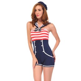 Tenue De Marin Halloween Pas Cher-Grossiste-Femmes Marine Sailor Cosplay Costume Sexy Party Fancy Cosplay Costume Halloween Sexy Sailor Outfit Jumpsuit Livraison Gratuite