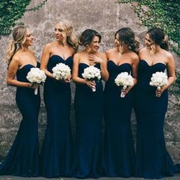 Demoiselles D'honneur Bleu Foncé Pas Cher-Elegant Robes de demoiselles d'honneur Dark Navy Blue Mermaid Robes de demoiselle d'honneur Sweetheart sans manches Longue Formal Wedding Party Robes d'honneur