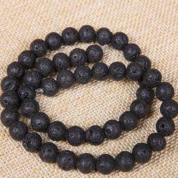 4 6 8 10 12 мм природный камень лавы бусины черный вулканический камень круглый камень свободные бусины для DIY ювелирных изделий браслет решений Оптовая