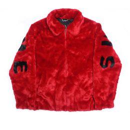 17ss S Faux Fur Chaqueta de Bombardero Abrigos de Piel Carta Pareja Moda Negro Rojo Piel Artificial Prendas de Vestir Exteriores S ~ XL HFJK008 en venta