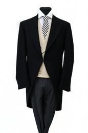 Groom White Tail Tuxedo UK - Custom Made New Style Groom Tuxedos BLACK HERRINGBONE MORNING TAIL COAT MENS FORMAL ASCOT TAILS SUIT WEDDING