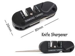 tungsten pocket knives 2019 - 2016 EDC Gear Tungsten Steel Grindstone Carborundum Knife Sharpener Tactical Keychain Black Pocket Keychain Tool Gift F4