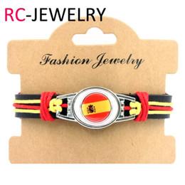 $enCountryForm.capitalKeyWord Australia - 37# 6pcs lot! Spain Flag Bracelet Adjustable Leather Wristband Cuff For Women Men Best Fans Gift Handmade