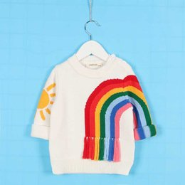 Blusa Para Niños Baratos-Everweekend Ins Boys Girls Sum Rainbow Suéter de punto Tops Beige Color Tassels Otoño Primavera Cute Children Fashion Blusa