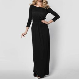 Élégante Manche Longue Rétro Pas Cher-2017 Femmes Elegant Maxi Dress 2017 Loose Long Sleeve Retro Slash Neck Spring Autumn Casual Haute taille Long Party Gown Robes Vestido