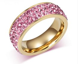 $enCountryForm.capitalKeyWord Canada - Free shipping Vintage pink Wedding Rings For Women 18K Gold Plated Stainless Steel 3 Row Crystal Cubic Zirconia party and dress jewelry