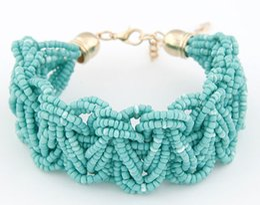 $enCountryForm.capitalKeyWord NZ - Bohemia Style Lady Bracelet Fashion Strands Seed Beads Barcelets Women Red Blue Black Coral Gold Colors Bangle Bracelet 12pcs lot
