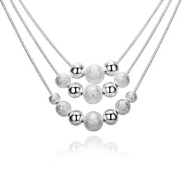$enCountryForm.capitalKeyWord NZ - Multilayer Beads Pendant Necklace 18inch Silver Line Chain Necklace 925 Sterling Silver Plated Jewelry Beautiful Gifts Wholesale Top Quality