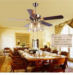 living room ceiling lamp shades NZ - American Art copper lamp shade 52inch ceiling fan lights Tiffany fan lamp restaurant ceiling lights fan living room